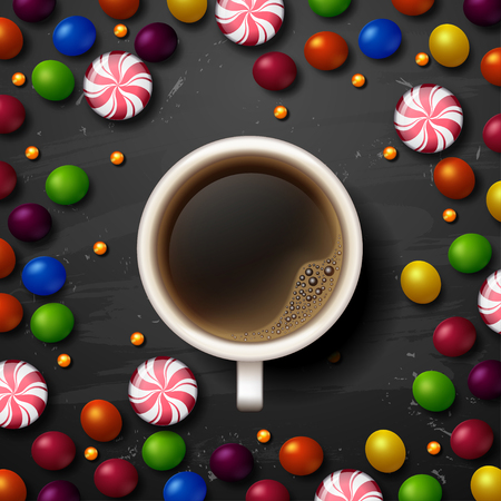 shiny background: Hot Coffee cup. candy vector background