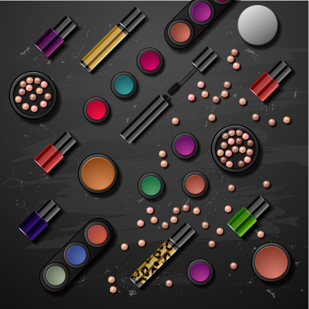 beauty store: decorative cosmetics make up accessories beauty store set banners Illustration