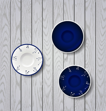 Blue plates with flowers ornament. Set of color plates Vettoriali