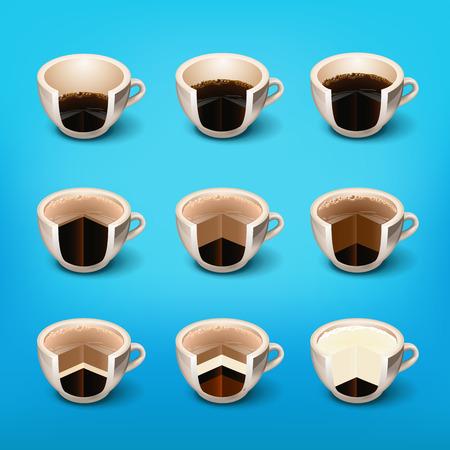 good break: coffee drinks layer espresso, cup of black coffee. drinks recipes. morning cup of coffee.Coffee Break . Coffee time, elements .Menu for restaurant, cafe, bar