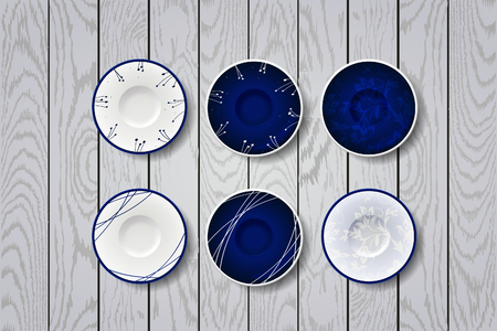 dinnerware: Blue plates with flowers ornament. Set of color plates Illustration