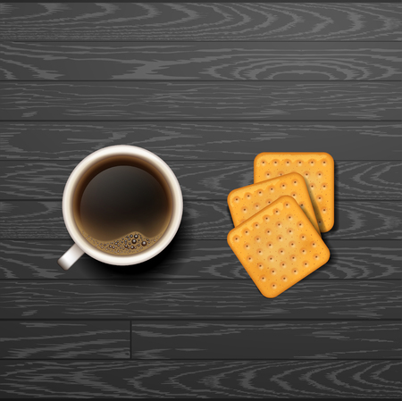 good break: good morning. coffee break. Hot Coffee cup on black vector background. latte it`s coffee time
