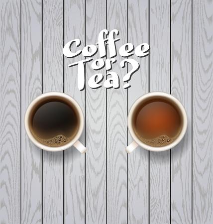 good break: coffee break. Hot Coffee cup on white wooden vector background. coffee ot tea