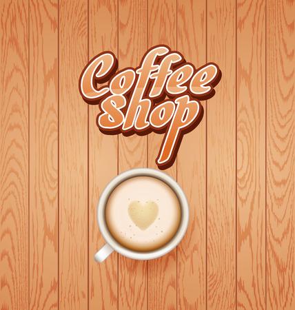 good break: coffee break. Hot Coffee cup on white wooden vector background. latte