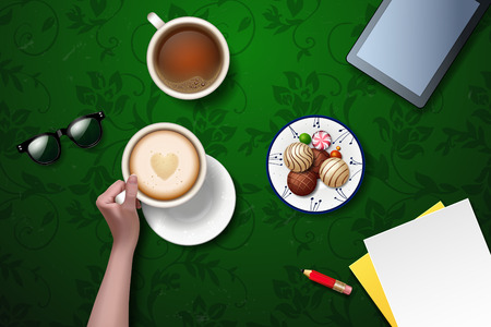 good break: Vector hands holding cup of coffee. coffee break. workspace, business lunch. plate with flowers ornament