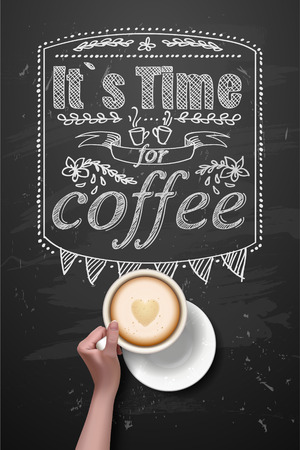 recharge: coffee break. Hot Coffee cup on black vector background. it`s coffee time. All you need is coffee. recharge. chalkboard art