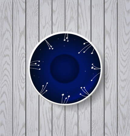 stoneware: Blue plate with flowers ornament on white wooden background Illustration