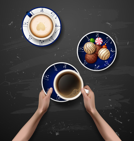 good break: Vector hands holding cup of coffee. coffee break. workspace. Blue plates with flowers ornament