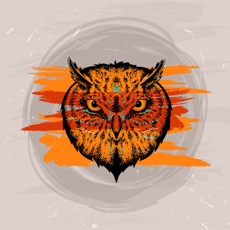 boho owl in the style of tattoo