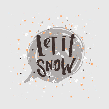 Christmas greeting card . Happy new year. Xmas vector background. Hand drawn calligraphy. concept handwritten let it snow