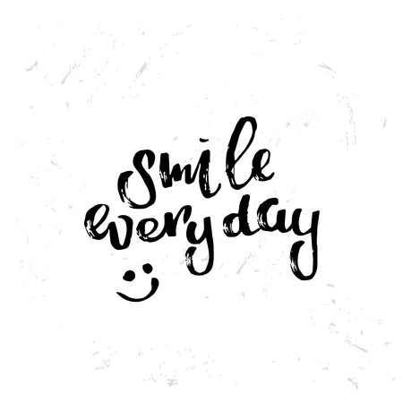 concept handwritten poster. smile everyday creative graphic template brush fonts inspirational quotes