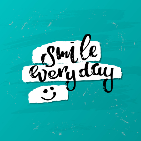 """concept handwritten poster. """"smile everyday"""" creative graphic template brush fonts inspirational quotes"""