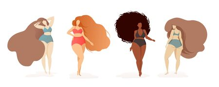 Body positive poster with 4 women of different skin and hair shades in multi-colored swimsuits. Female characters. Happy women positive concept. Plus size bodys Illustration