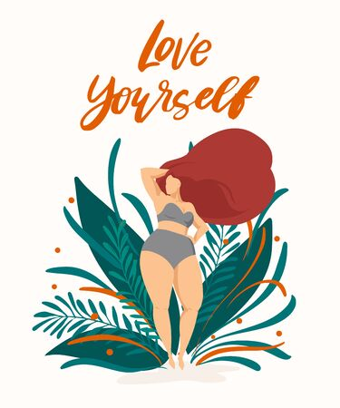 Body positive poster with trendy hand drawn lettering Love yourself . Girl with beautiful hair against a background of green leaves and plants. Female characters. Feminism quote Illustration