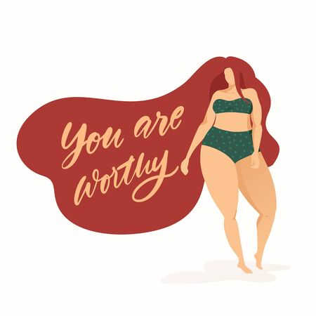 Female character on poster with trendy hand drawn lettering You are worthy. Girl with beautiful hair in grey bikini. Body positive feminism quote 向量圖像