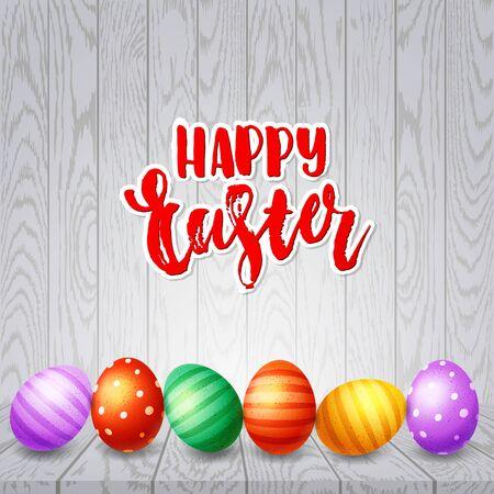 Trendiges Poster mit bunten Eiern. Handgezeichnete Kalligraphie Frohe Ostern. Verzierter gelber, roter, blauer, grüner und lila Eierhintergrund