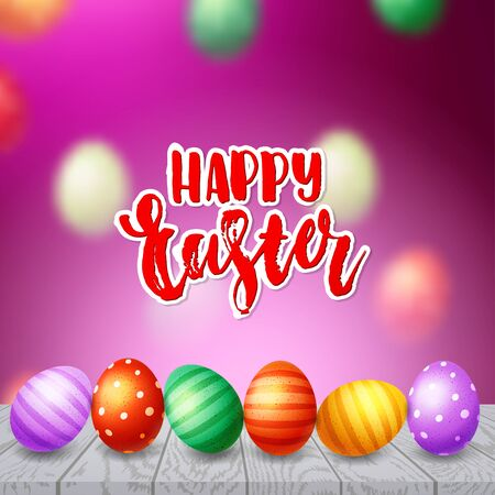 Trendy poster with colorful eggs. Hand drawn calligraphy happy Easter. Decorated yellow, red, blue, green and purple eggs background Vetores