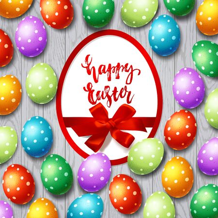Trendy poster with colorful eggs. Happy Easter. Decorated yellow, red, blue, green and purple eggs background
