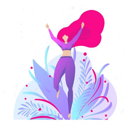 girl with beautiful red hair in sportswear is running. Victory Leap. Female silhouette. Vector trendy flat illustration 일러스트