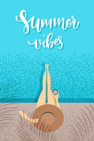 Summer vibes - trendy hand lettering poster. Hand drawn calligraphy. The girl in a bathing suit sunbathes. pool top view. Woman holds hand a hat. Female character holding in hand coffee cup 向量圖像