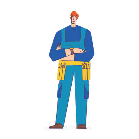 Handyman services concept. Repair master with a tool belt. Young man in blue jumpsuit uniform isolated on white background