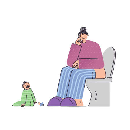 Frustrated and stressed woman with kid in bathroom. Psychological problems, depression, fatigue, bad mood. Burnout concept in flat style vector illustration. Small children in the family. Baby crying