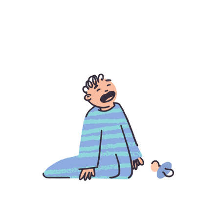 little boy crying in pajamas in flat style vector illustration. Nipple fell. Blue striped sleep suit. Child with fair skin. Small children in the family