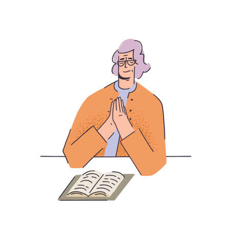 Woman praying over a book in flat style vector illustration. Spiritual Concepts.