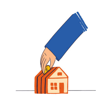 Hand throws a penny into the house in the form of a piggy bank. Concept of business in real estate, mortgage in flat style vector illustration. A person decides to take a home