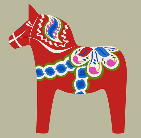 red floral Dala horse