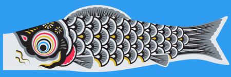 Koinobori japanese style fish Illustration