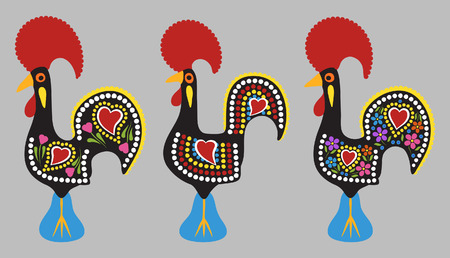 Rooster of Barcelos cartoon style Çizim