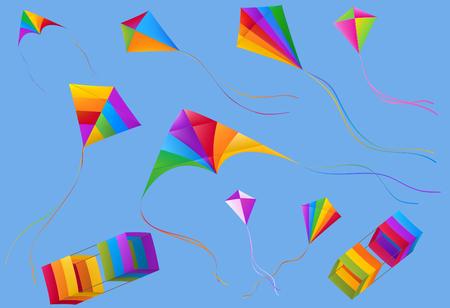 Aquiloni colorati sparsi in volo su sfondo blu