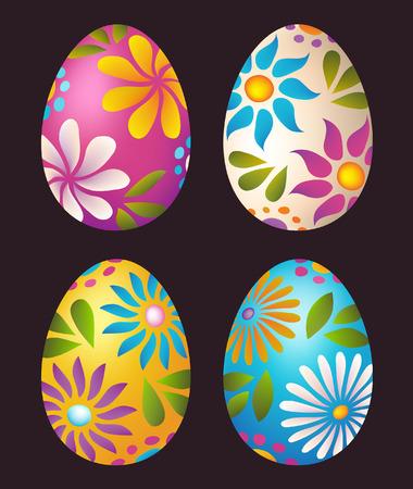 Huevos de Pascua diseño colorido floral