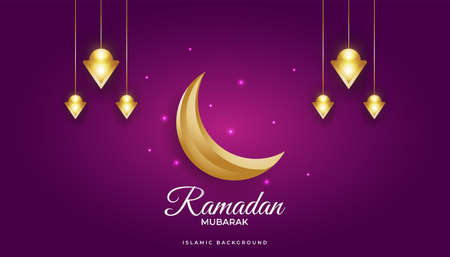 Magnificent Ramadan Background with Golden Crescent and Luxury Lanterns