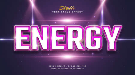 Bold Energy Text Style with Glossy and Embossed Effect Ilustração Vetorial