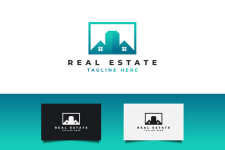 Modern Real Estate Logo in Blue and Green Gradient. Construction, Architecture or Building Logo Design Template Logo
