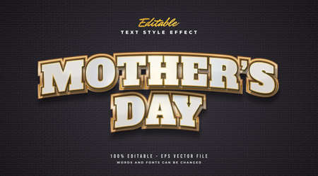 Mother's Day Text in White and Gold with Curved Effect. Editable Text Style Effect