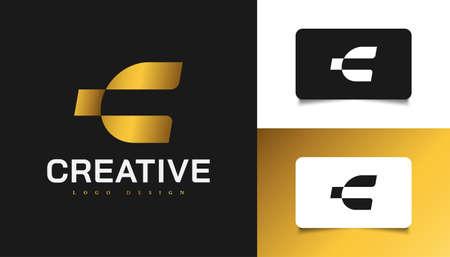 Modern and Simple Letter C Logo Design in Gold Gradient. Graphic Alphabet Symbol for Corporate Business Identity Ilustração