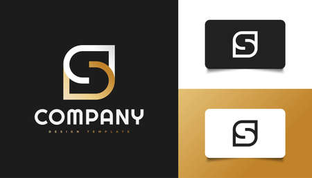 Abstract and Minimalist Letter S Logo Design in White and Gold. Graphic Alphabet Symbol for Corporate Business Identity Ilustração