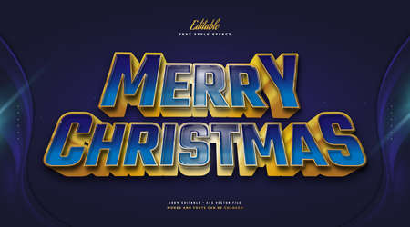 Merry Christmas Text in Blue and Yellow Style with 3D Effect. Editable Text Style Effect