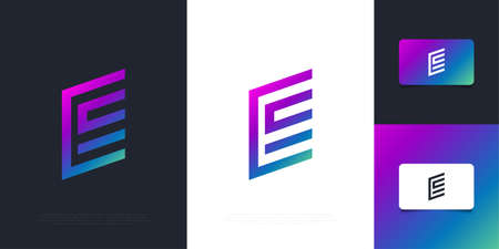 Modern and Abstract Letter E Design Template in Colorful Gradient with Minimal Concept. Graphic Alphabet Symbol for Corporate Business Identity