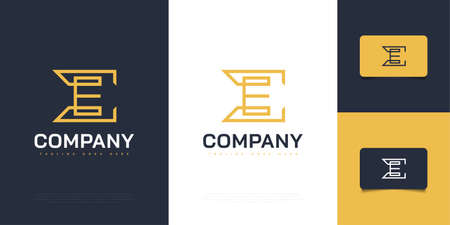 Elegant Abstract Letter E Design Template with Yellow Line Style. Graphic Alphabet Symbol for Corporate Business Identity Ilustração