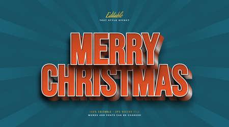 3D Merry Christmas Text in Bold Orange Vintage Style. Editable Text Style Effect Ilustração