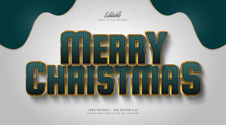 Elegant Merry Christmas Text in Green and Gold Style with Embossed and Textured Effect. Editable Text Style Effect Ilustração