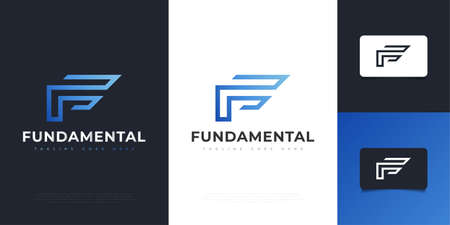 Modern and Abstract Letter F Design in Blue Gradient. Graphic Alphabet Symbol for Corporate Business Identity