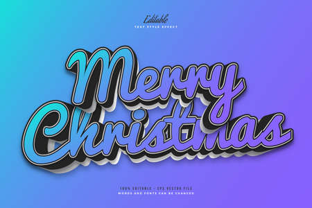 Merry Christmas Text in Colorful Gradient with Cartoon Style. Editable Text Style Effect