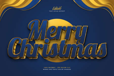 Luxury Merry Christmas Text in Blue and Gold Style with 3D Effect. Editable Text Style Effect Ilustração