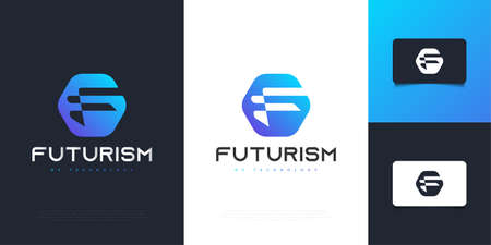 Modern and Futuristic Letter F Design in Blue Gradient. Graphic Alphabet Symbol for Corporate Business Identity