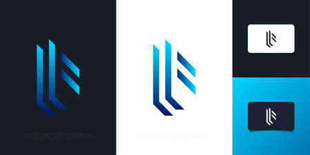 Abstract and Modern Letter F  Design in Blue Gradient with Abstract Concept. Graphic Alphabet Symbol for Corporate Business Identity Ilustração